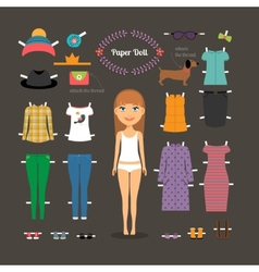 Dress up paper doll with big head vector image