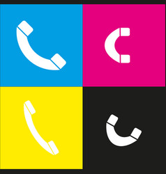 phone sign white icon with vector image