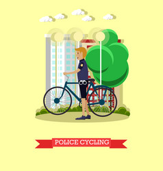 Policeman with city bicycle vector