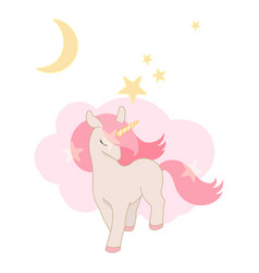 Cute unicorn little pony with pink hair lovely vector