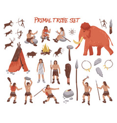 primal tribe people icons set vector image vector image