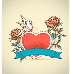 red heart roses and dove vector image vector image