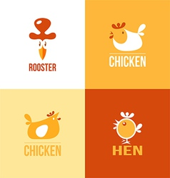 Set of signs and symbols chicken vector image vector image