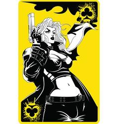 Woman with gun vector image vector image