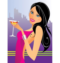 Beautiful woman with cocktails in the club vector image