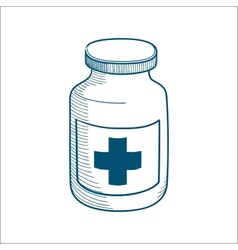 Bottle with medical cross sign isolated on white vector image vector image