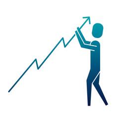 businessman holding growth arrow progress vector image