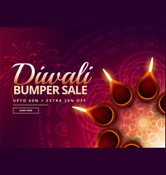 diwali sale with diya decoration vector image vector image