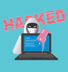 hacked computer theme with hacker vector image