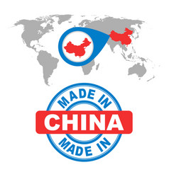 made in china stamp world map with red country vector image