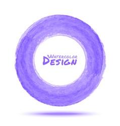 Hand drawn watercolor light violet circle design e vector image vector image