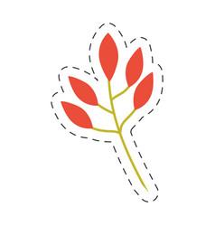 orange leaves branch image cut line vector image