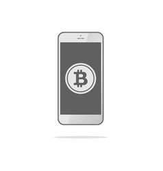 smartphone with bitcoin symbol on-screen bitcoin vector image vector image