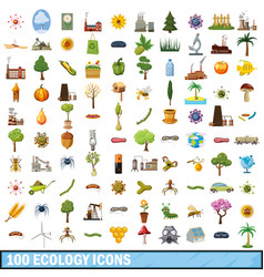 100 ecology icons set cartoon style vector
