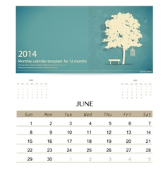 2014 calendar monthly calendar template for June vector image