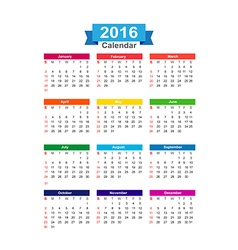 2016 Year calendar isolated on white background vector