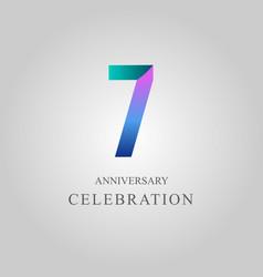 7 year anniversary celebration template design vector