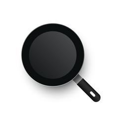 a realistic frying pan view from above vector image