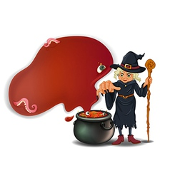A witch holding a stick with a pot vector image