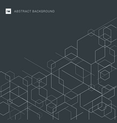 Abstract boxes white lines on gray background vector