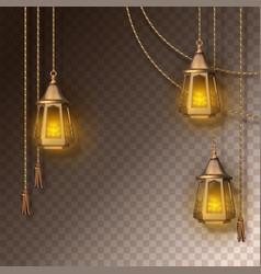 Arabic shining lamps vector