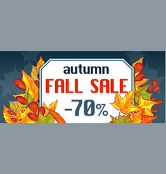 autumn fall sale banner horizontal cartoon style vector image