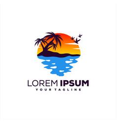 Awesome sunset beach logo design vector