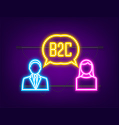 B2c sales person selling products neon icon vector