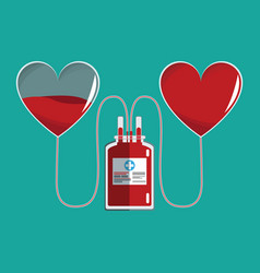 bag transfusion hearts blood vector image