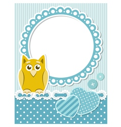 baowl blue scrapbook frame vector image