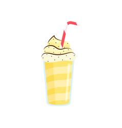beautiful milkshake in transparent glasses made vector image