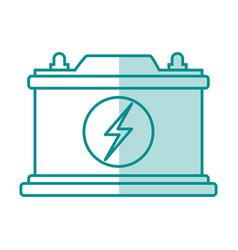 blue silhouette shading of car battery icon vector image