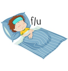 Boy in bed having flue vector
