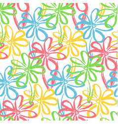 Bright pattern with color chamomile flowers vector