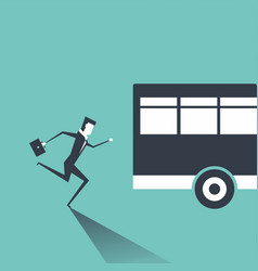 business man in suit is running after outgoing bus vector image