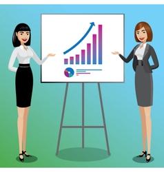 Business women showing graphics vector