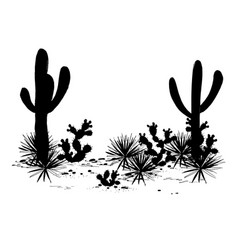 cacti landscape silhouettes vector image