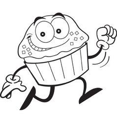 Cartoon cupcake running vector image