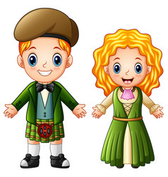 Cartoon ireland couple wearing traditional costume vector