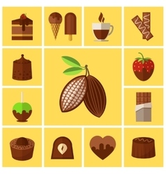 Chocolate sweets cakes and cocoa bean flat icons vector
