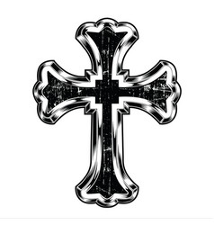 Christian cross drawing blak vector