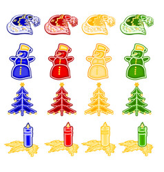 christmas and new year decoration with ornaments vector image