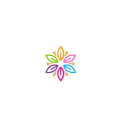 circle leaf colorful decorative logo vector image