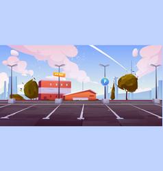 City car parking empty lots cartoon vector