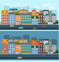 City life horizontal flat banners vector