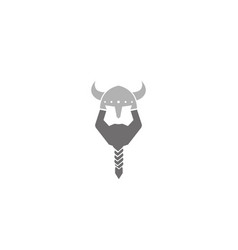 creative vikings helmet beard head logo vector image