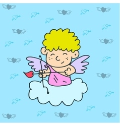 Cupid on sky vector