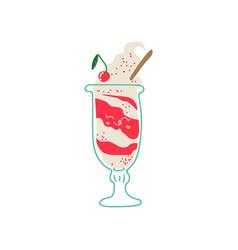 Cute delicious ice cream in glass adorable kawaii vector