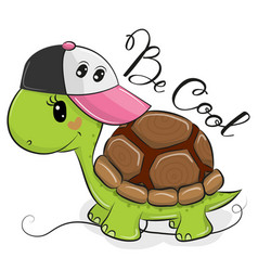 cute turtle with a pink cap vector image