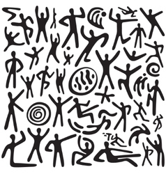 dancing people - doodles set vector image